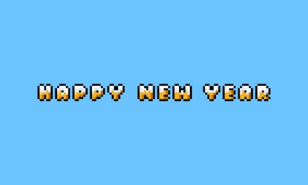 Pixel art cartoon feliz año nuevo texto de oro con cubierta de nieve.