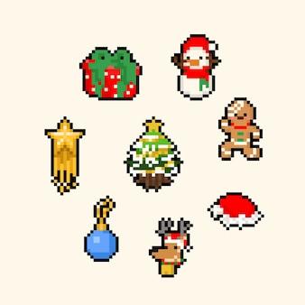 Pixel art cartoon lindo conjunto de navidad