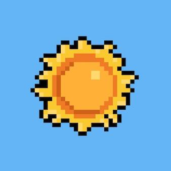 Pixel art cartoon papercut art sol icono