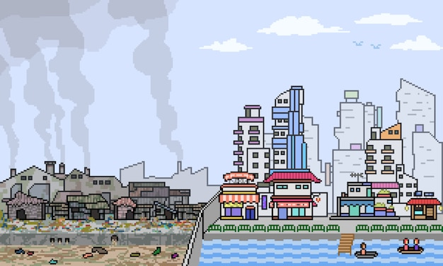 Pixel art city half slum