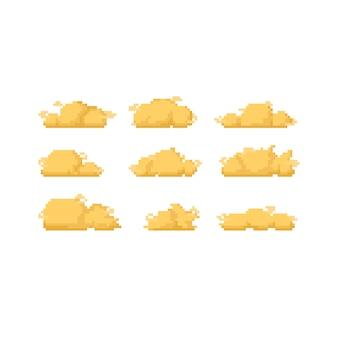 Pixel art conjunto de diseño de icono de nubes doradas.