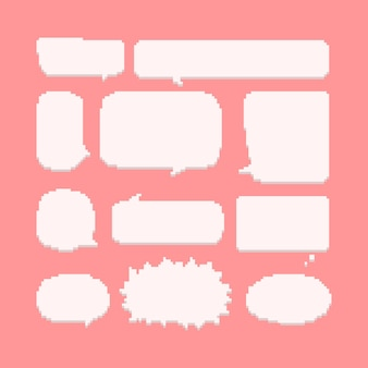Pixel art conjunto de globo de discurso cómico.