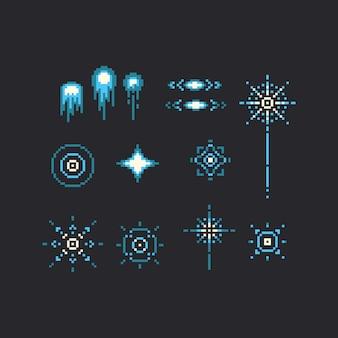 Pixel art conjunto de icono de fuegos artificiales azul.