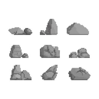 Pixel art conjunto de ilustración de piedras.
