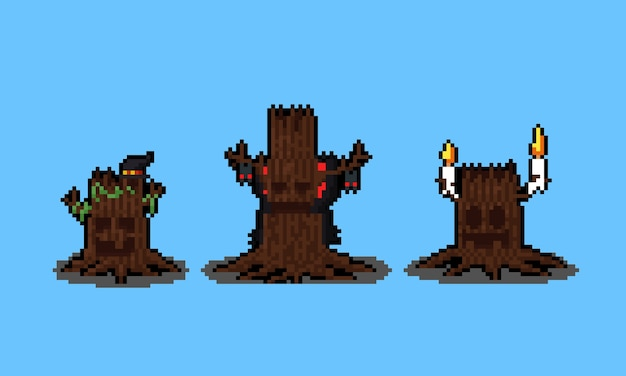Pixel art conjunto de personaje de monstruo de árbol espeluznante de halloween.