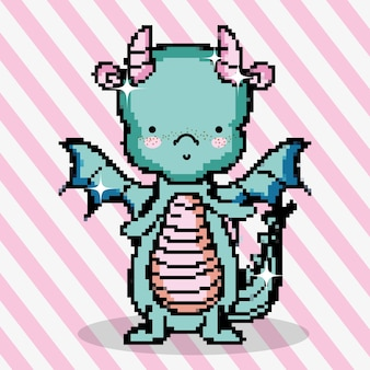 Pixel art cute dragon videojuego de dibujos animados v