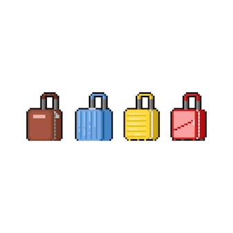 Pixel art dibujos animados equipaje icono diseño conjunto.