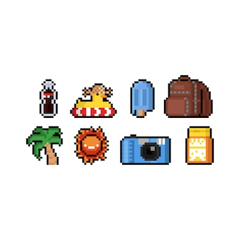 Pixel art dibujos animados verano icono diseño conjunto.