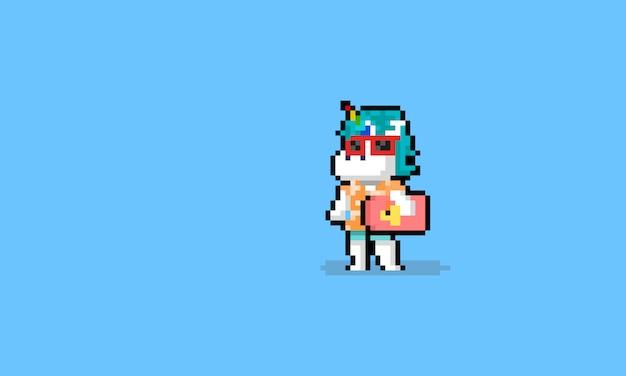 Pixel art dibujos animados verano playa unicornio personaje