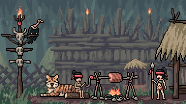 Pixel art escena amazoness tribu