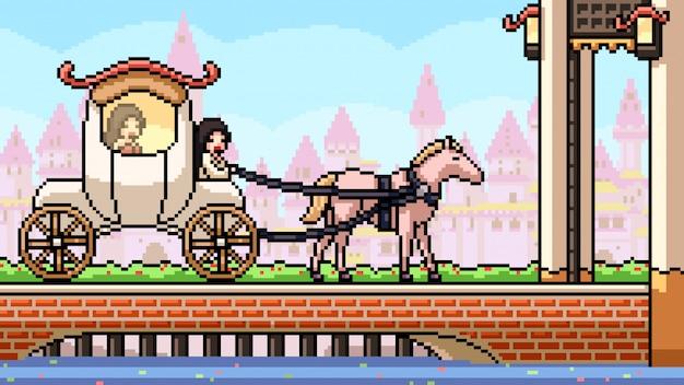 Pixel art escena cuentos de hadas carro