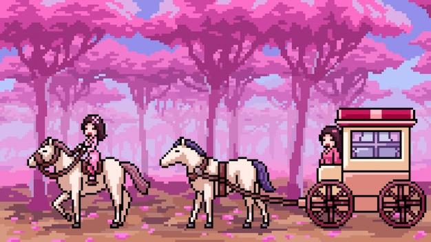 Pixel art escena rosa bosque
