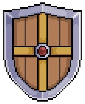 Pixel art escudo medieval de elemento de juego de bits de hierro y madera sobre fondo blanco.