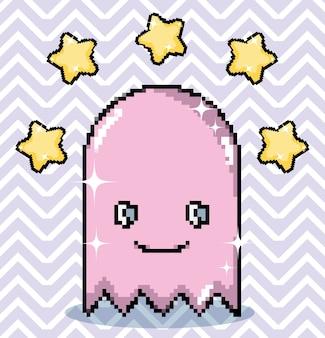 Pixel art ghost con personaje de estrellas