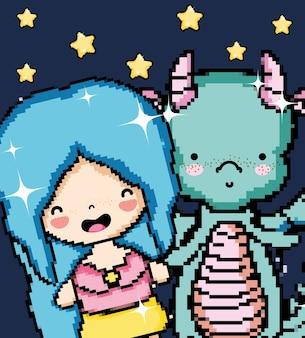 Pixel art girl and dragon cute cartoon