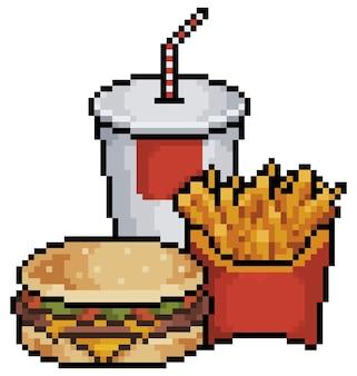 Pixel art hamburguesa, refrescos y papas fritas poco elementos de juego sobre fondo blanco.