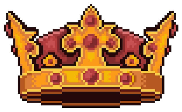 Pixel art king crown icon juego de bits