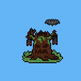 Pixel art monstruo de árbol espeluznante de halloween con tres murciélagos.