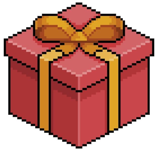 Pixel art navidad o regalo de cumpleaños elemento de juego de bits de caja roja sobre fondo blanco.