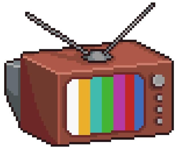 Pixel art old tv artículo de juego de bits vintage