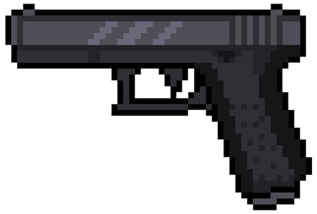 Pixel art pistola glock elemento de juego de bits