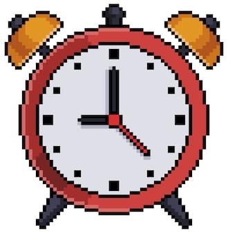 Pixel art retro despertador elemento de juego de bits sobre fondo blanco.