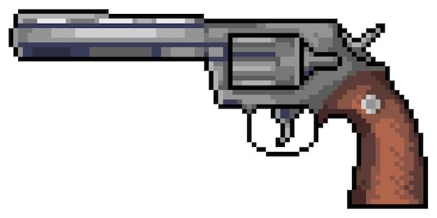 Pixel art revólver pistola juego poco fondo blanco.