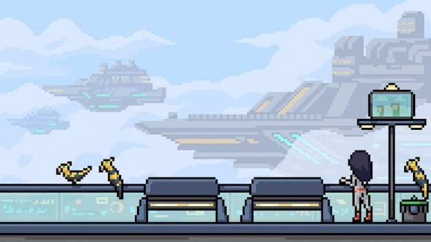 Pixel art scene sci fi dirigible