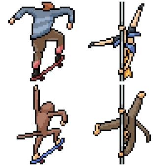 Pixel art set acción de mono humano aislado