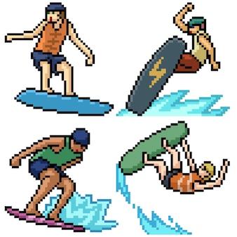 Pixel art set acción de tabla de surf aislada