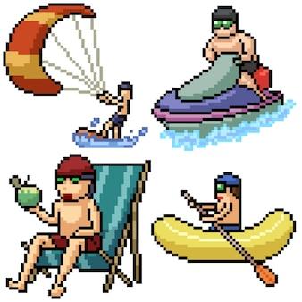 Pixel art set actividad de playa aislada
