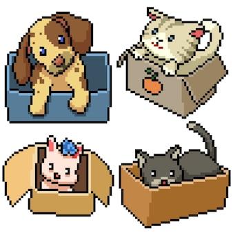 Pixel art set aislado adorable cachorro gatito