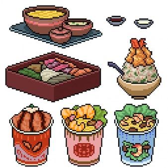 Pixel art set aislado comida rápida asiática