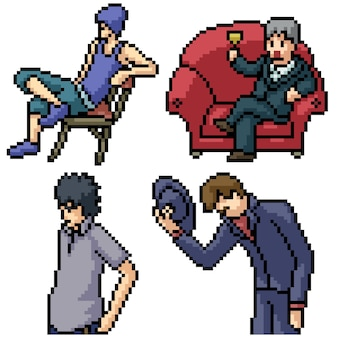 Pixel art set aislado cool man