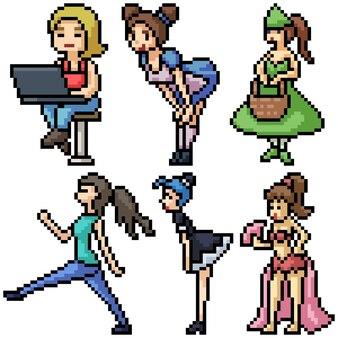 Pixel art set aislado mujer encantadora