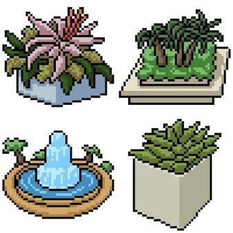 Pixel art set aislado pequeño jardín