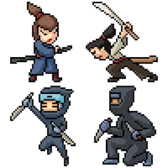 Pixel art set aislado samurai ninja