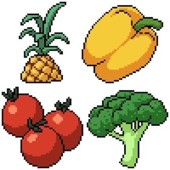 Pixel art set aislado vegetales frescos