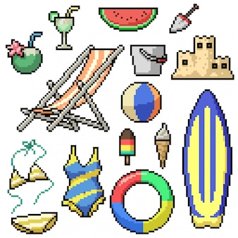 Pixel art set artículos de playa aislados