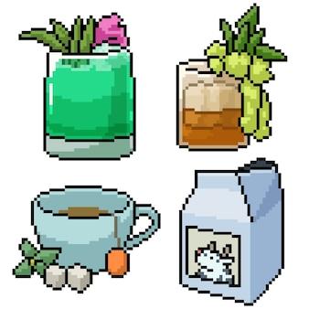 Pixel art set barra de bebidas aislada