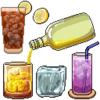 Pixel art set bebida fría aislada