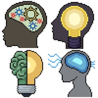 Pixel art set cerebro inteligente aislado