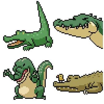 Pixel art set cocodrilo divertido aislado