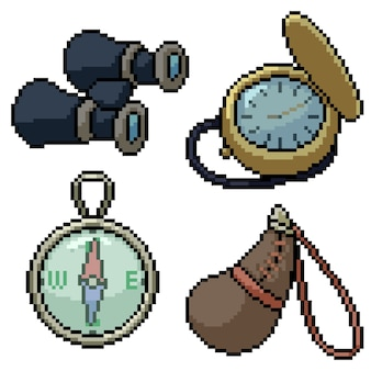 Pixel art set herramienta de viaje antigua aislada