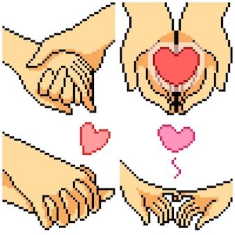 Pixel art set mano romance aislado