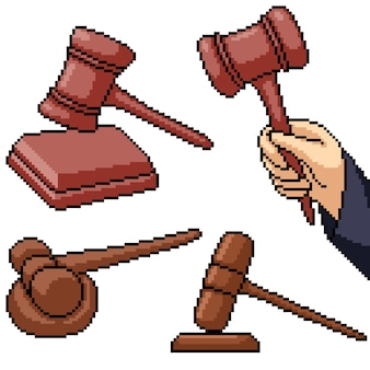 Pixel art set martillo juez aislado