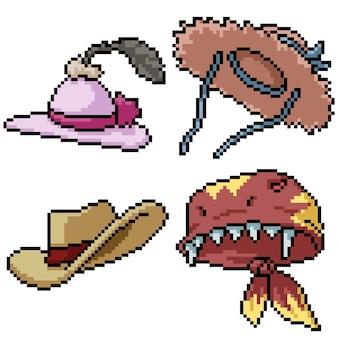Pixel art set moda sombrero aislado
