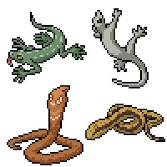 Pixel art set reptiles aislados serpiente lagarto