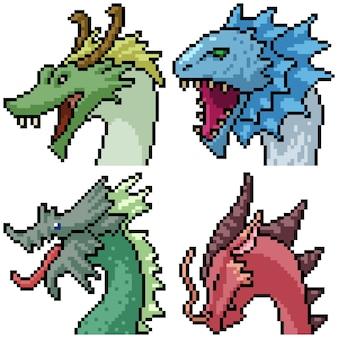 Pixel art set retrato de dragón
