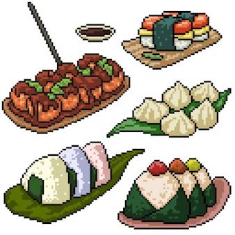 Pixel art set sushi japonés aislado